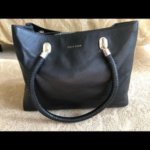 Cole Haan Black Pebbled Leather Shoulder Bag